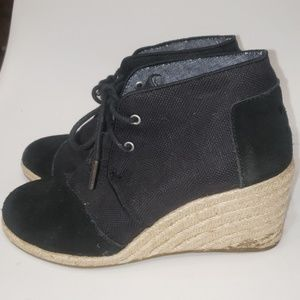 Tom's Black Wedge Shoes